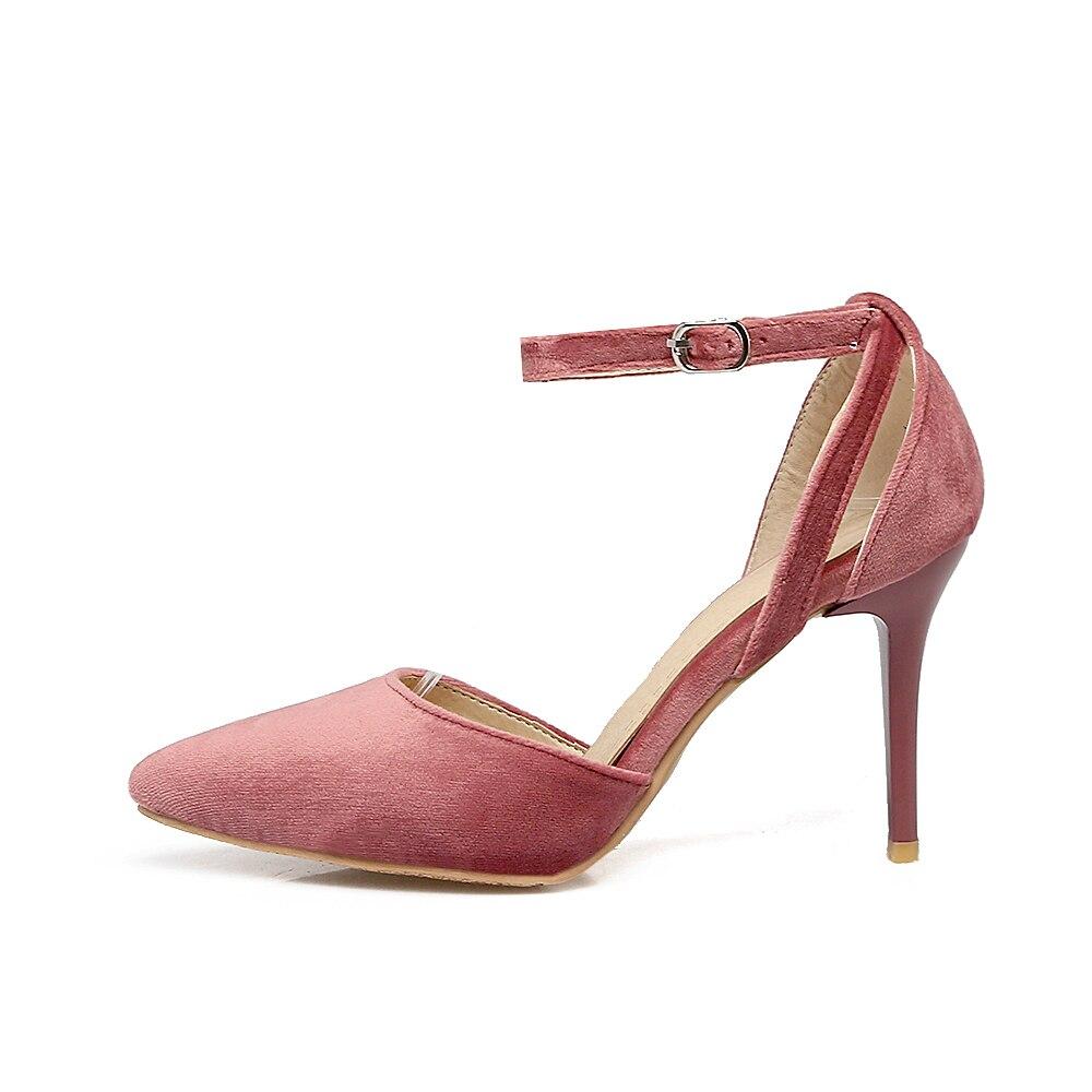 c2c8429c 48 Plus Tacones Rosa pink Tamaño Lujo Sexy Negro Dulce 2018 Zapatos Moda  Rebaño Altos De ...