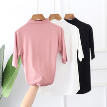 summer new style Spring Korean Women's Modal Top Stand collar loose seven-sleeve ladies t-shirt Solid color large size shirt color block stand collar t shirt