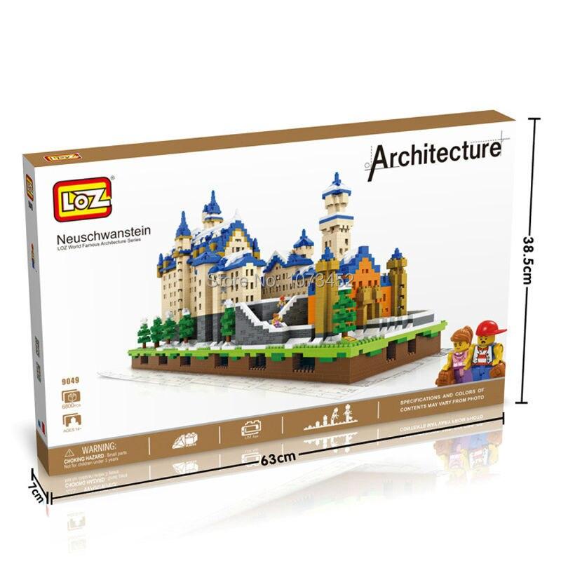 6800 pz blocchi di diamante loz World famous architettura serie di Neuschwanstein modello con effetto di luce e piccole figure - 3