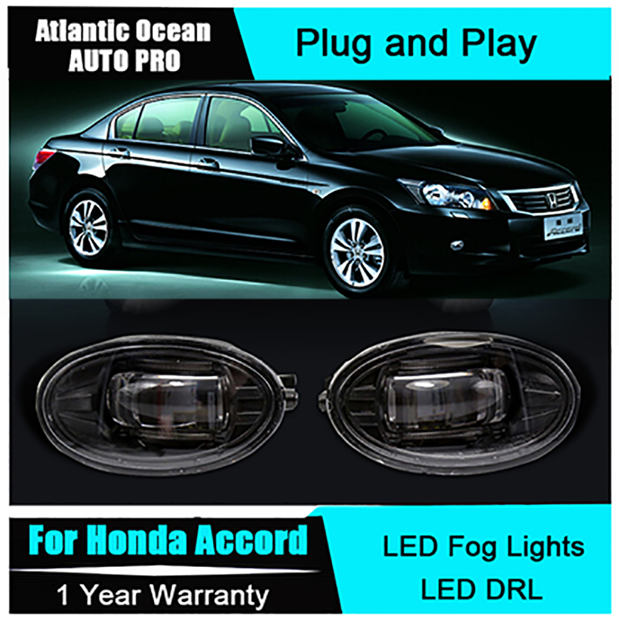 Auto Pro Car Styling LED fog lamps For Honda Accord led DRL with lens For Honda Accord LED fog lights led daytime running light new led fog light with drl daytime running lights with lens fog lamps car styling led refit original fog for toyota venza