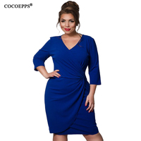 2017 Fashion Elegant Women Dress 5XL 6XL Deep V Neck Winter Party Club Dress Plus Size