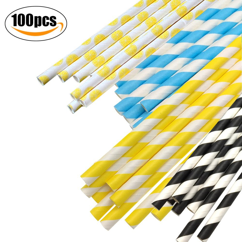 Yellow Paper Straws Diamonds Pattern Party Birthday Wedding 25Pcs Biodegradable