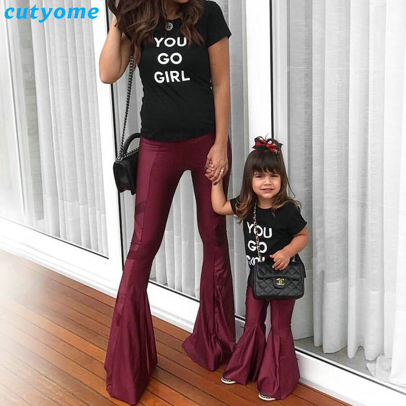 Mother Daughter Matching Clothes Flared Trousers Pants For Mommy And Me Family Look Women Girl Mom And Daughter Clothing Outfits