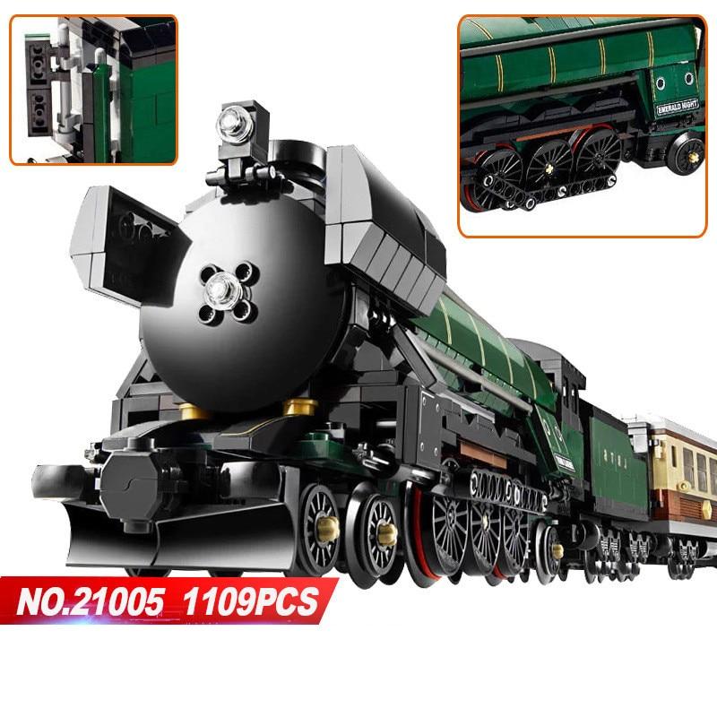 LEPIN 21005 1085Pcs Technic Series Emerald Night Train Model Building Kits Block Bricks Children Gigt Toys LegoINGlys 10194