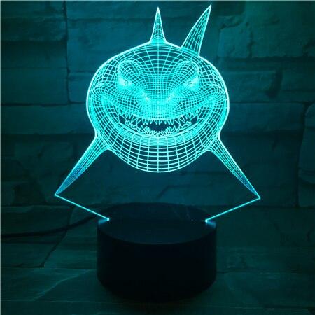 LED Decorative Night Light for Kids Child Bedroom Finding Nemo Shark Bruce Multi Colors Alternating 3D Imaginable Visual Lamp