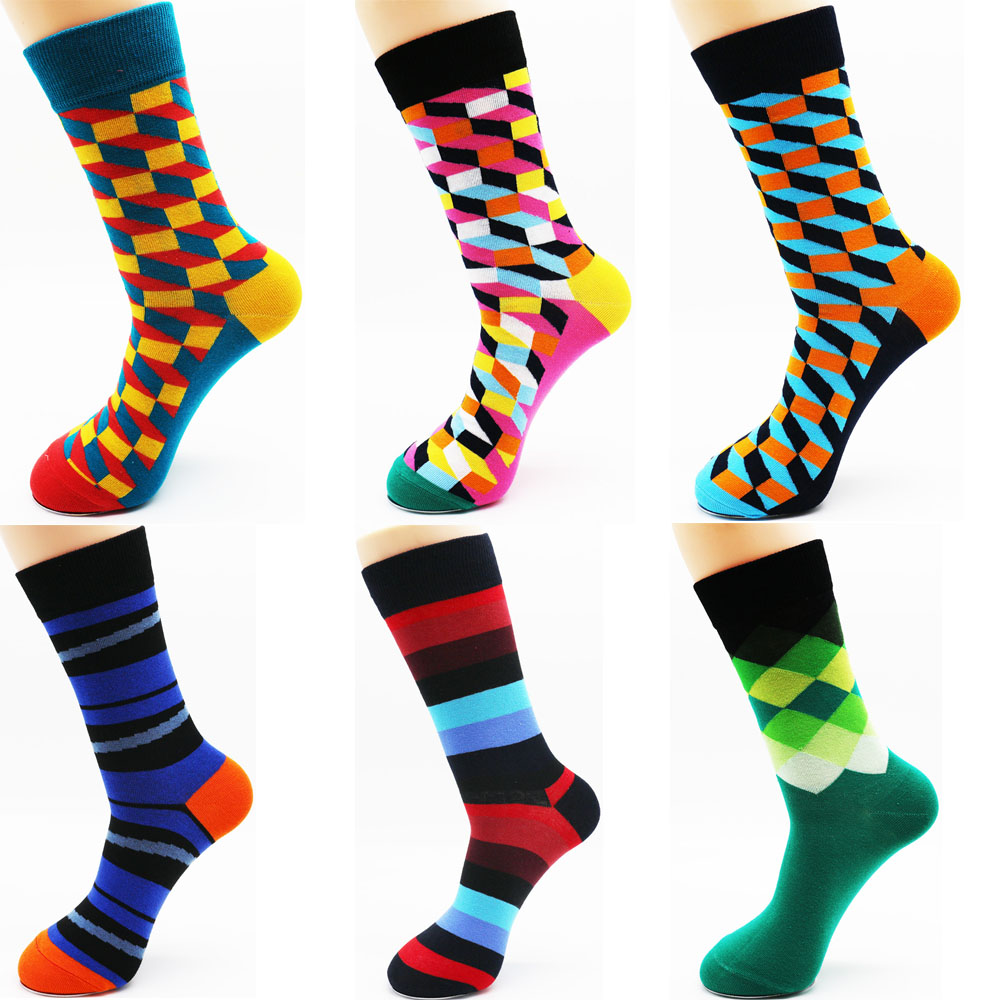 New Mens Funny Colorful Stripes Combed Cotton Casual Happy Socks Dress Wedding Socks(3 Pairs / Lot)