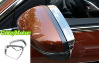 2pcs Set Chrome Rear View Mirror Rain Shield Cover Frame Bezel FOR PEUGEOT 3008 GT 2016