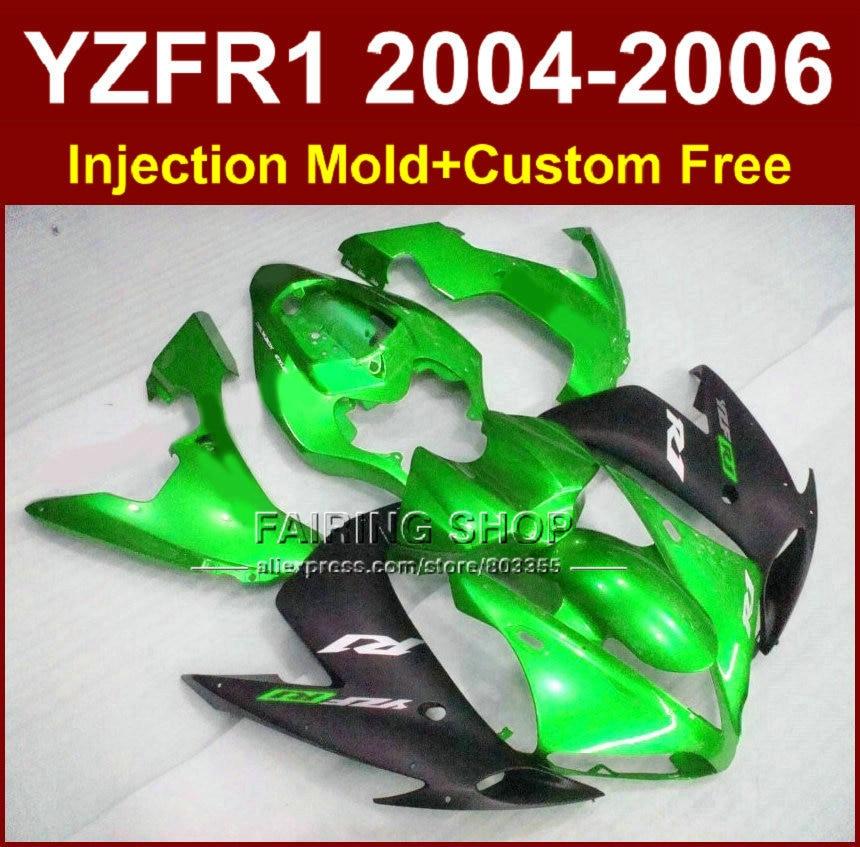 Custom paint motorcycle Injection mold ABS fairings for YAMAHA R1 2004 2005 2006 YZF R1 YZF1000 04 05 06 green black fairing kit запчасти для мотоциклов yamaha yzf1000 02 03 r1