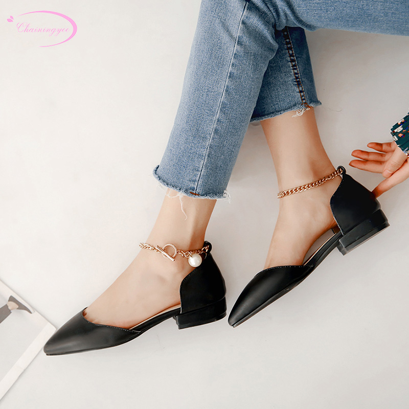 Chinese OL style sexy pointed toe summer sandals fashion chain buckle beaded black white beige pink flat with women's shoes