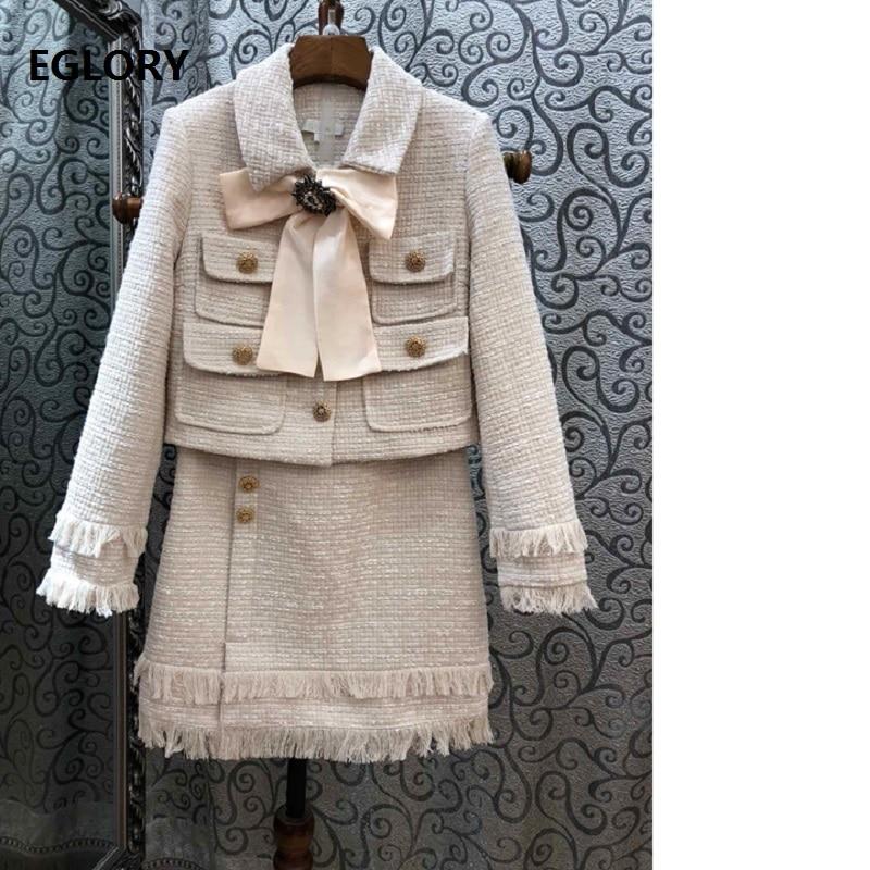 Одежда высшего качества дизайнер Костюмы костюмы Для женщин элегантный галстук бабочку шерстяная куртка пальто + кисточка шерсть юбка кост