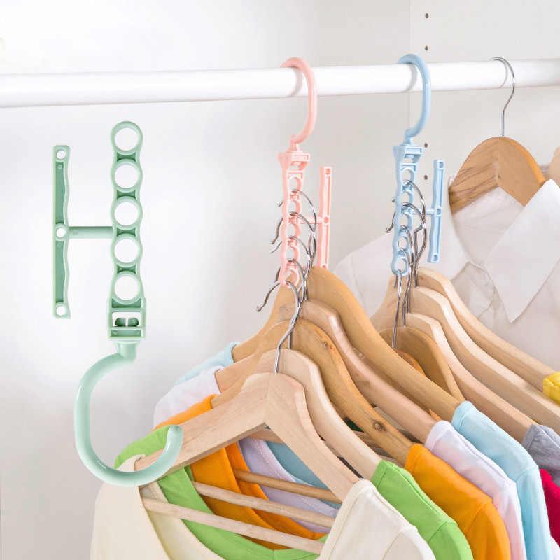 شماعة ملابس بلاستيكية متعددة الطبقات 5 طبقات من الزجاج المقاوم للرياح منظم حامل ثابت رفوف تخزين شماعة مزودة بإبزيم شماعة منزلية مضادة للانزلاق
