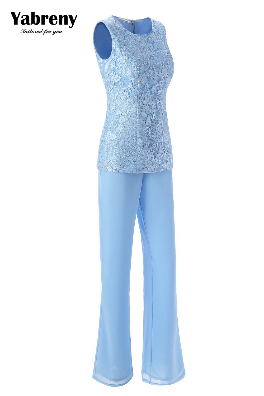 Yabreny Elegant Mother of the Bride Pants suit Sky blue Lace Outfit for Wedding MT001704-1