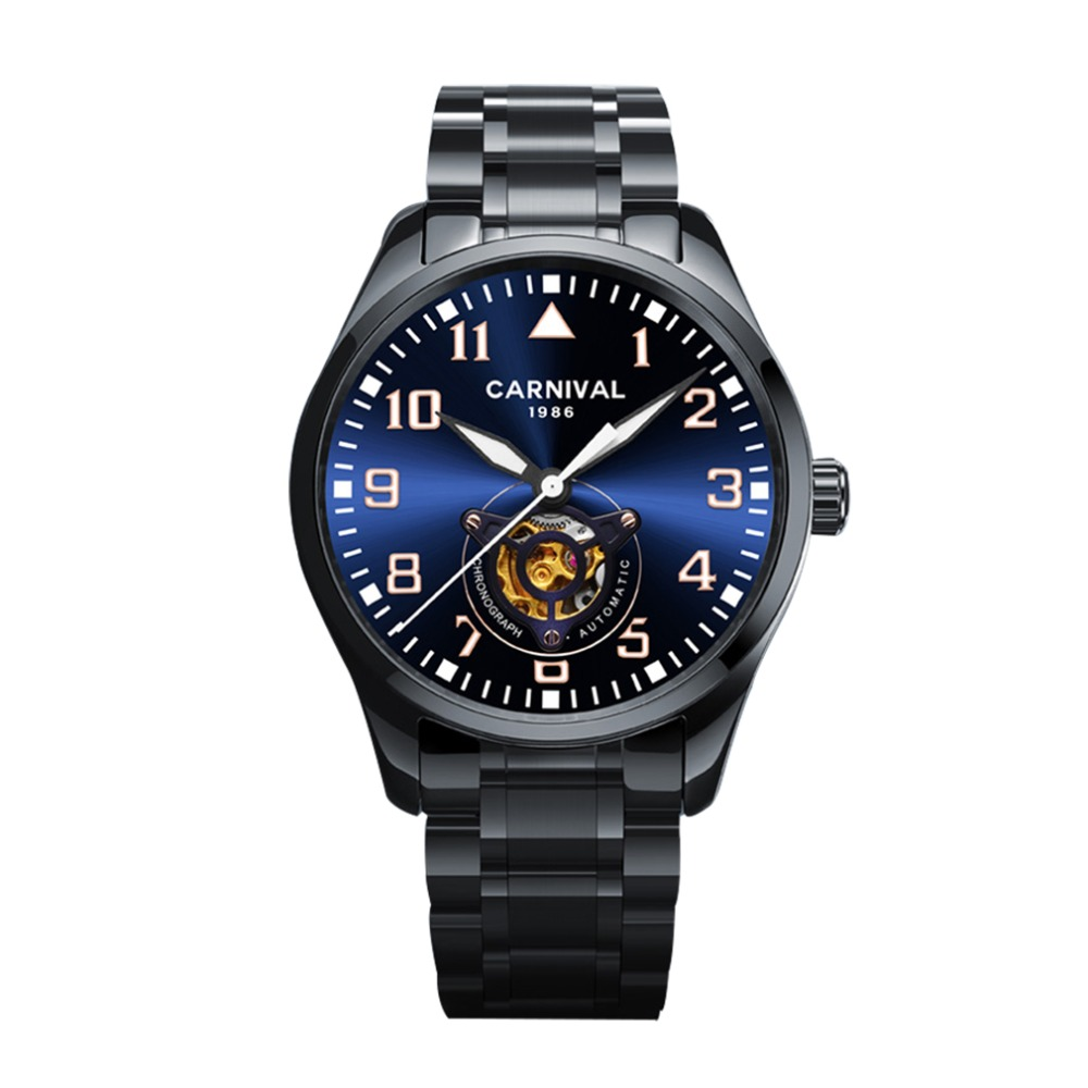 Carnival Mens Business Hollow Out Dial Automatic Self Wind Mechanical Wrist Watches