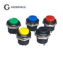 цена на 50 pcs/lot R13-507 16mm Lockless Reset 250V 3A Push Button Switch Round Switch Bouton Poussoir Metal Interrupteur
