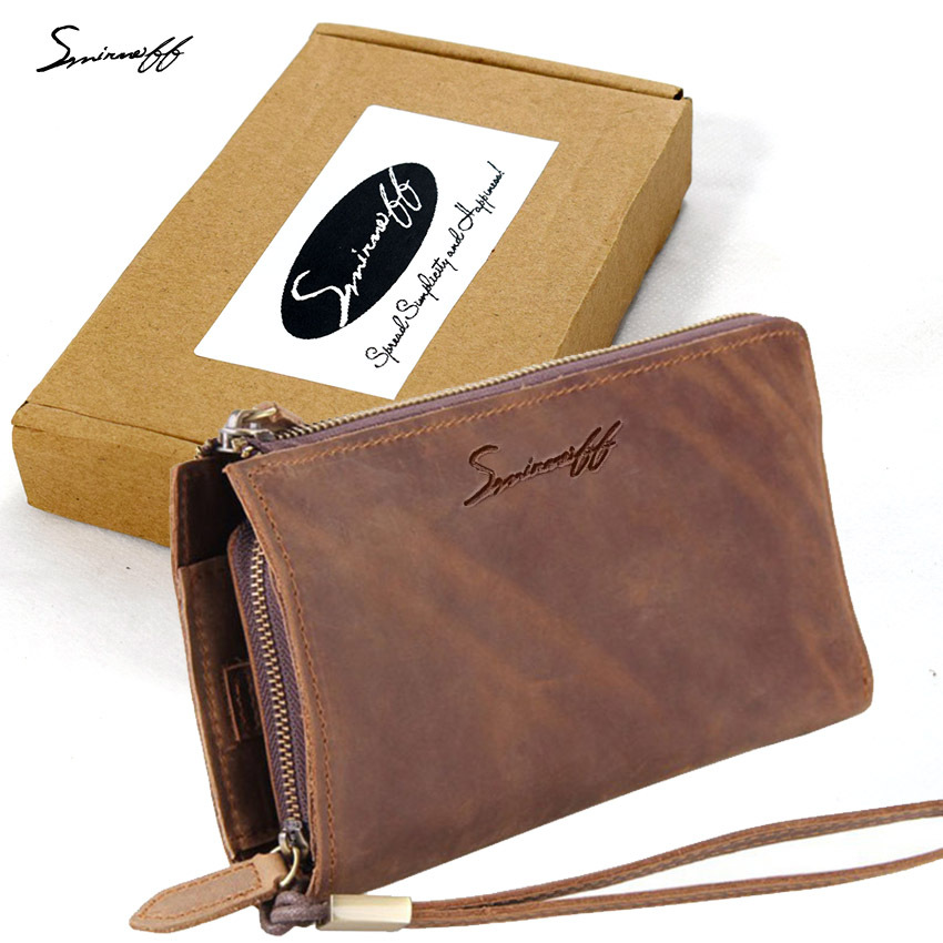 ФОТО SMIRNOFF 2017 New Male Purse Retro Money Pocket Bag Frenzy Genuine Leather Hand Bag With Multi-Functional Men Leather Wallet