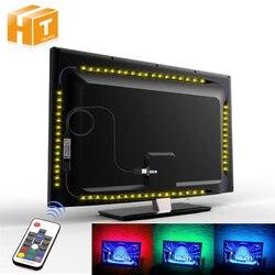 USB Светодиодная лента 5050 RGB Гибкая Светодиодная лампа DC5V RGB цвет сменный ТВ фоновое освещение.