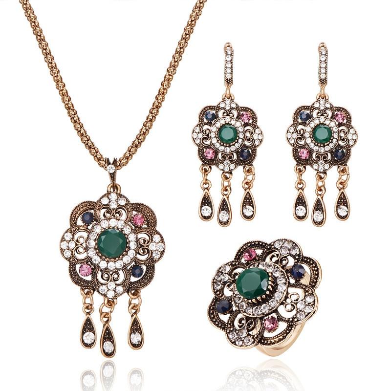 Hot Turkish Flower Jewelry Sets Multi Color Crystal Women Wedding Jewelry Fashion Tassels Water Drop Bridal Necklace Set Jewelry