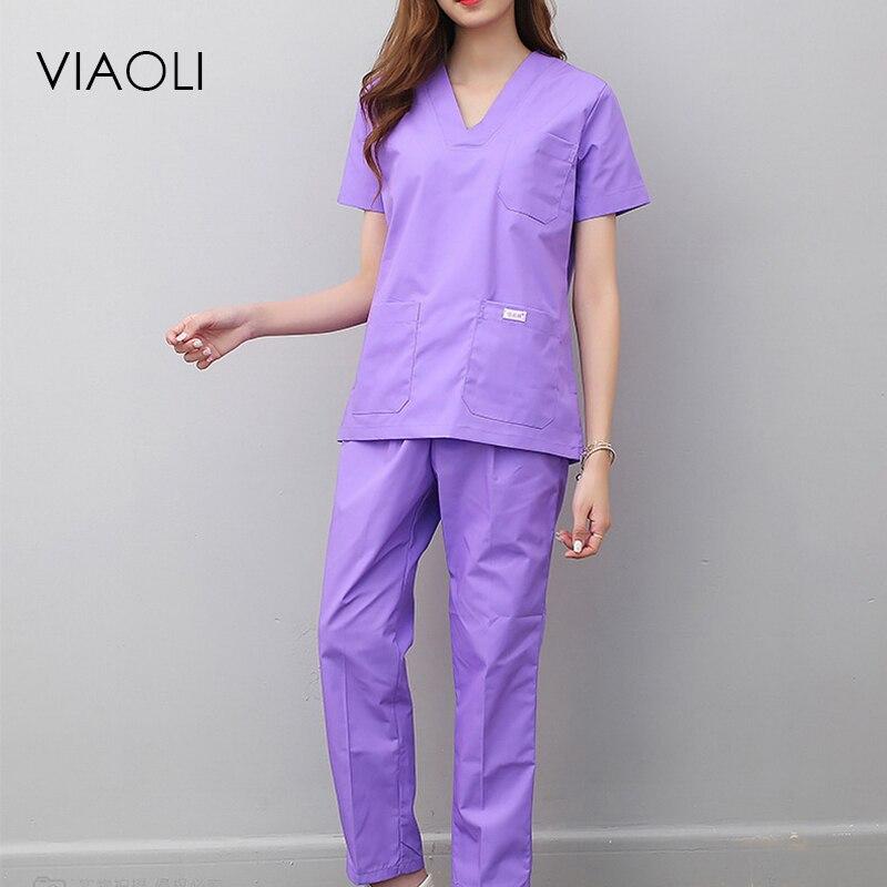 Viaoli Women And Men Medical Uniforms Nursing Scrubs Clothes Short Sleeve Coat Doctor Clothing  Brush Hand Clothing V-collar