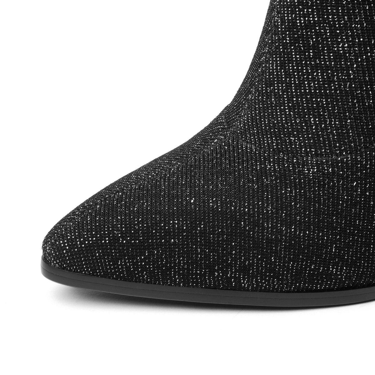 Hiver Pointu Bout À Dames Chaussures Noir pourpre Chaussettes Stretch Femmes Nouveau Violet bleu Carré Bottes Bleu Automne Hauts Cheville De Noir Mode Talons 2018 SPO6qF6cv