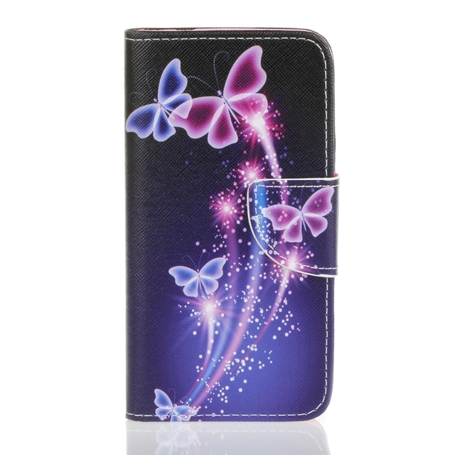 2016 Purple Butterfly Card Slot Wallet PU Leather Stand Flip Case Cover for Wiko Lenny3 Case