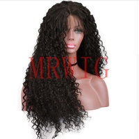 MRWIG Long Kinky Curly Synthetic Lace Front Natural Wigs Women Black Daily Use Half Hand Tied Middle Part Baby Hair 1b#2#8#27#