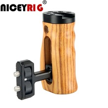 "NICEYRIG Camera Hand Wood Grip DSLR Wooden Side Handle Cold Shoe Cheese Top 1/4"" Screw Holes for Sony Canon Nikon Camera Cage"