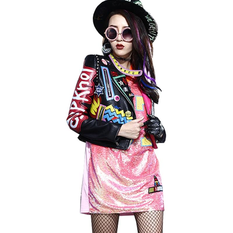 Harajuku Wq176 Femelle Cuir Pu Moto Survêtement Zipper Manteau Femmes En Automne Black Épaulette Rivet Lady Veste Imprimé wO8IZq