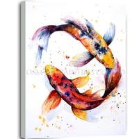 สูงทักษะศิลปินแฮนด์เมดคุณภาพสูงสัตว์ปลาภาพวาดสีน้ำมันบนผืนผ้าใบคู่ปลาGoingรอบในวงการภาพว...
