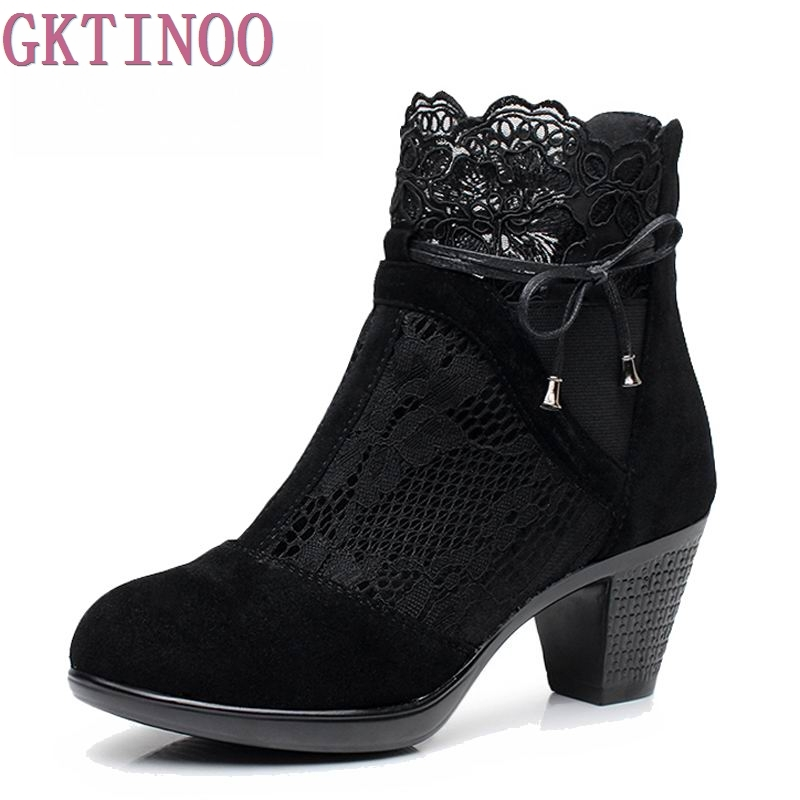 High Quality Genuine Leather Women Shoes Spring and Autumn High Heels Women Boots Hollow Out Lace Ladies Fashion Boots