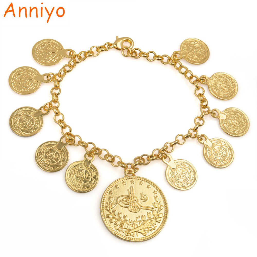 Anniyo Length 25CM/Turkey Coin Charm Bracelet for Women Gold Color Kurdish Chain Bangle Arab Jewelry Middle East/African #075206