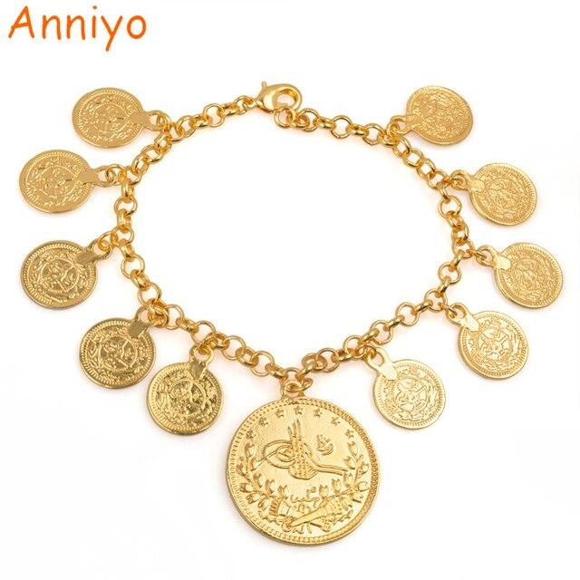 Anniyo Length 25cm Turkey Coin Charm Bracelet For Women Gold Color Kurdish Chain Bangle Arab