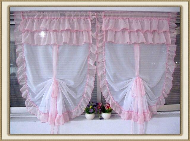 Rustic bay window curtain, Women balcony multicolor fan shaped balloon curtain,window screeningcurtain clothcurtains blackcurtain belt
