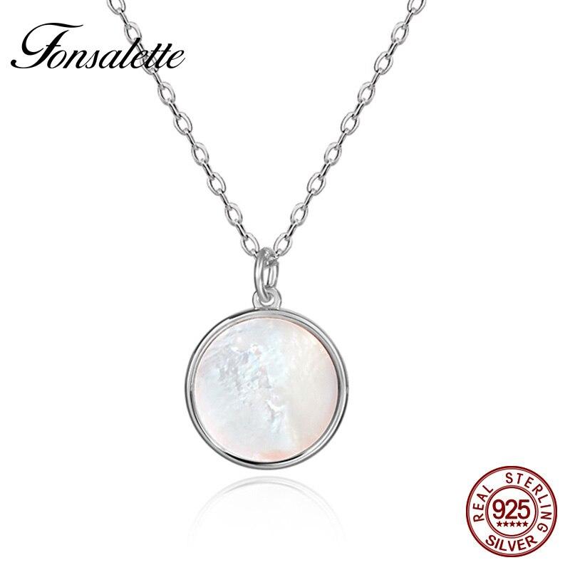 Vintage Sterling Argent Blanc Shell Pendentif Collier Rond Naturel Mère de Perle Colliers Femme Filles Bijoux Cadeau ZK30