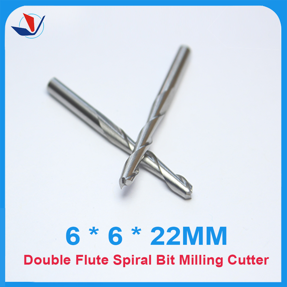 Free Shipping 5pcs Carbide CNC Router Bits Two Flutes Spiral End Mills Double Flutes Milling Cutter Spiral PVC Cutter6.22MM