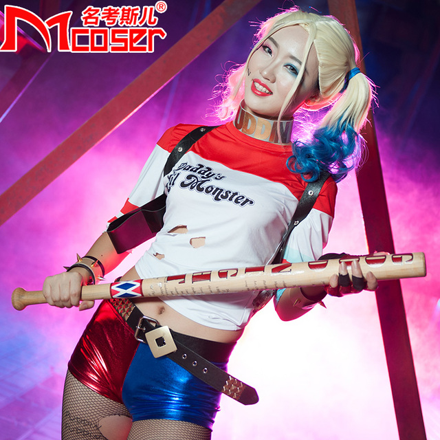 085b6fee76611 Batman Arkham Asylum City Suicide Squad Harley Quinn Weapon Costume Cosplay  original edition solid wood Quinn baseball bat-in Costume Props from  Novelty ...