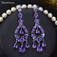 Bohemian Style White Gold Plated Purple Cubic Zirconia Crystal Bridal Long Drop Chandelier Earrings For Wedding