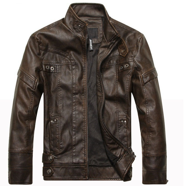 New arrive brand motorcycle leather jacket men men's leather jackets jaqueta de couro masculina mens leather coats(China)
