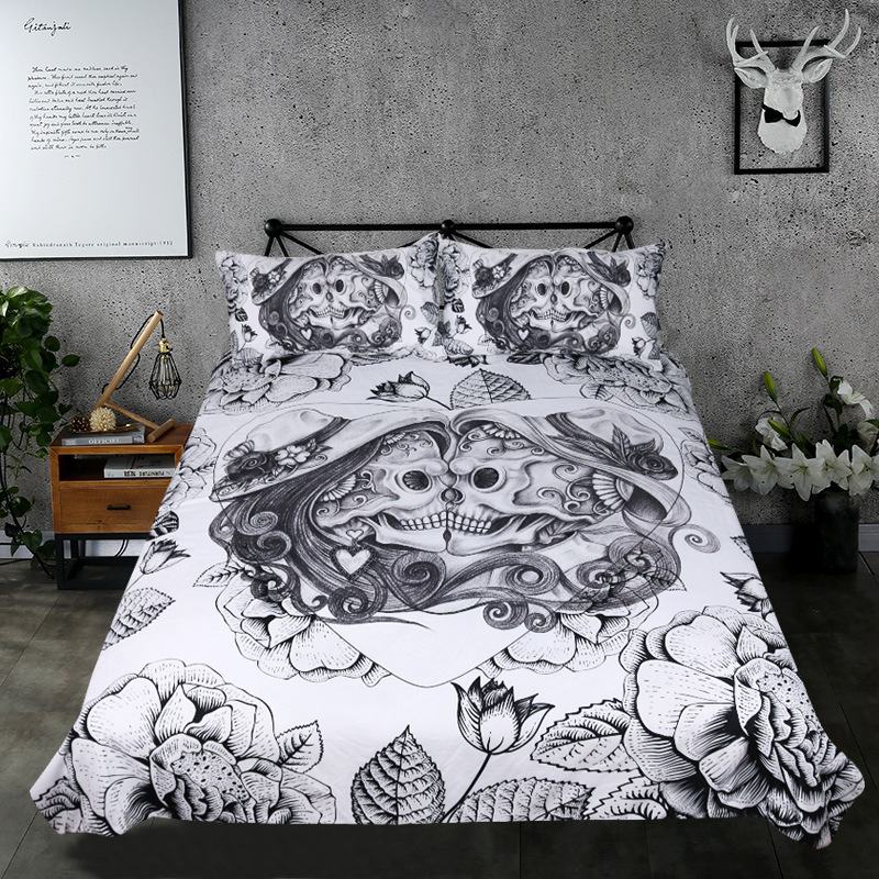 Beddingoutlet Skull Bedding Set King Top Rated Boy Gothic Duvet Cover 3pcs S Vintage Bedclothes Fl Double Love Bed In Sets From Home