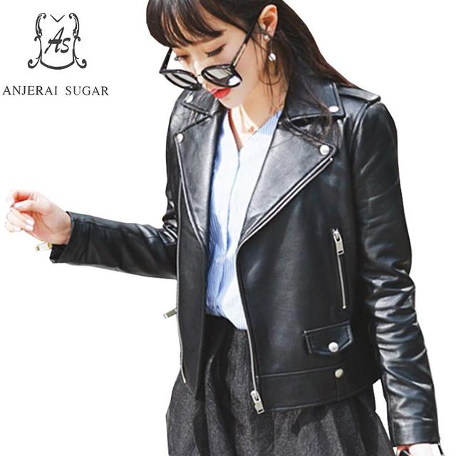 Plus Size sheepskin genuine Leather jacket women coat female black Turn-down Collar zipper Motorcycle cazadoras de cuero mujer
