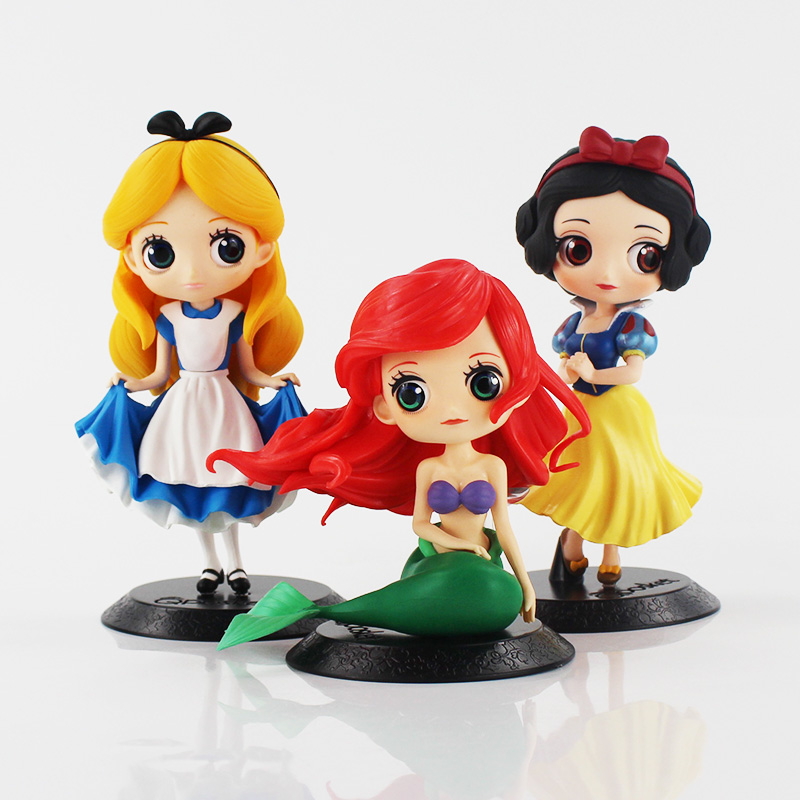 3 sytles Q Posket Alice Alice in Wonderland / Ariel The Little Mermaid Snow White PVC Figure Collectible Model Toy alice q posket characters alice alice in wonderland pvc figure collectible model toy doll 15cm
