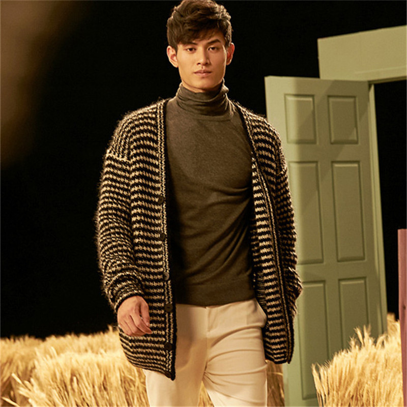 100% Hand Made Pure Wool Vneck Knit Men Fashion Black White Striped H-straight Cardigan Sweater Customized