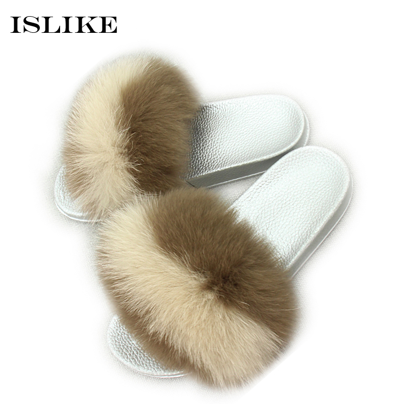 589c47395 Islike New Summer Women Fur Slippers Fluffy Real Fox Fur Slides Flat Non  slip Indoor Flip Flop High Quality Casual Beach shoes-in Slippers from Shoes  on ...
