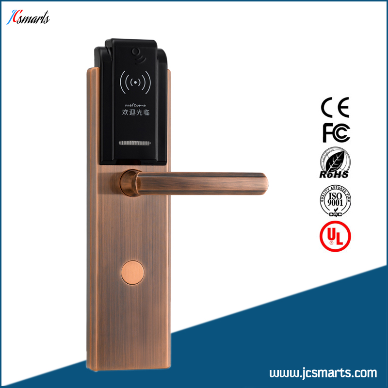 High quality hotel electronic key card system door lock system with RFID card reader hotel lock system rfid t5577 hotel lock gold silver zinc alloy forging material sn ca 8037