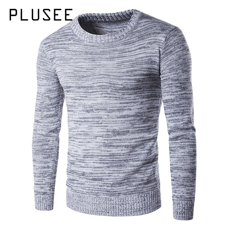 Plusee 2017 New Men Sweater Pullover Autumn Thermal Gray Plain Spring Stripe Knitting Sweater O-neck Warm Knitwear Men Sweater