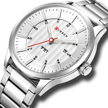 CURREN שעונים אופנה נירוסטה בנד Mens שעונים קלאסי עסקי קוורץ שעוני יד לגברים זכר שעון עם לוח שנה