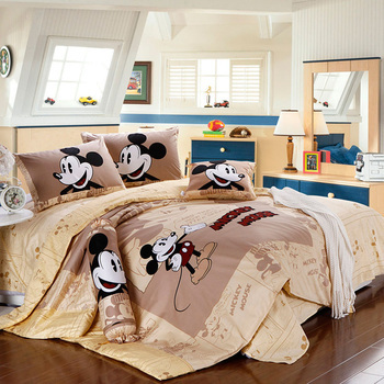 Комплект постельного белья с Микки и Минни Маус, постельное белье из египетского хлопка для детей, домашний текстиль, Двухслойное постельно