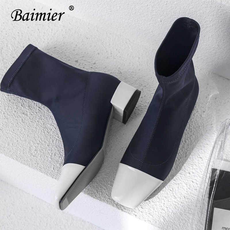 Baimier Luxury Silk Women Sock Boots Square Toe Ankle Boots For Women Mixed Color Brand Design Women Boots Slip On Boots Women