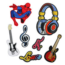 Music Guitar Note Headset Patches Cap Shoe Iron On Embroidered Appliques DIY Apparel Accessories Patch Clothing Fabric Badges(China)