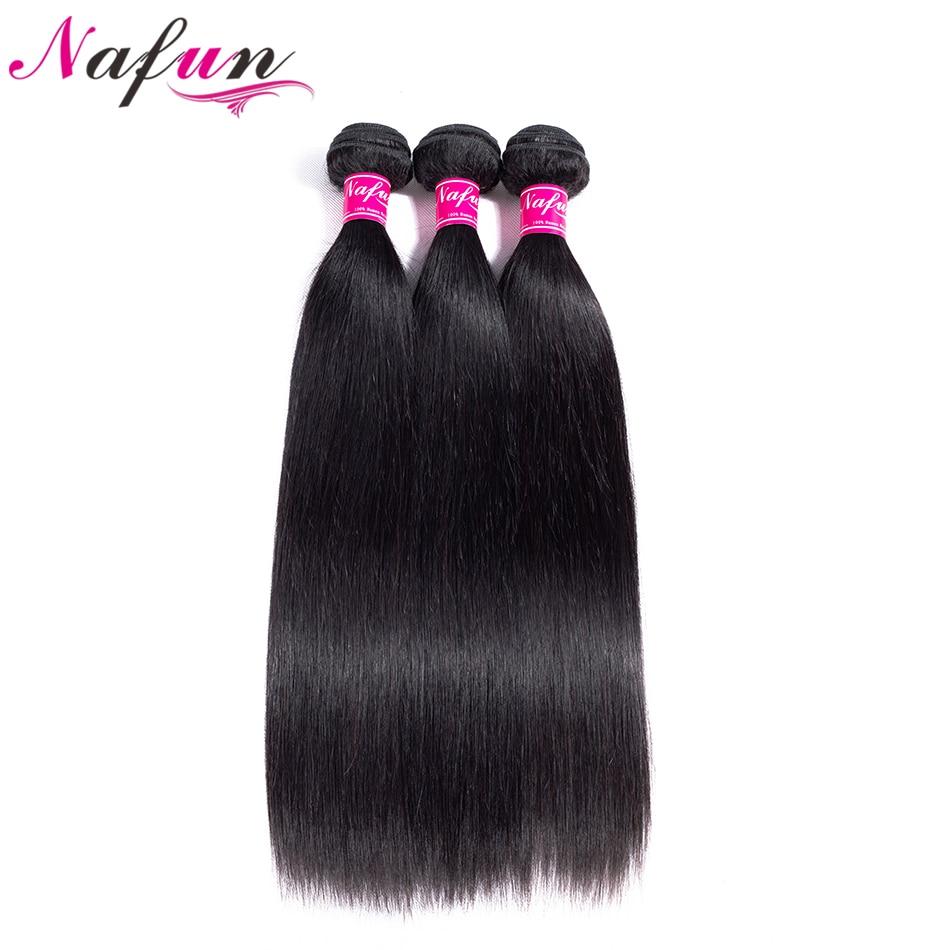 NAFUN Hair Peruvian Natural Color Straight Hair Weave 3 PC Bundles 100% Human Hair Non Remy Hair No Smell Extensions