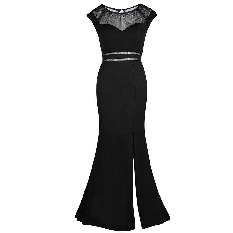 Dressv royal blue long   evening     dress   cheap scoop neck split-front sleeveless wedding party formal   dress   mermaid   evening     dresses
